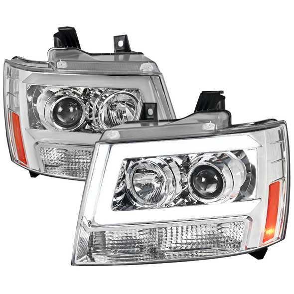 2007-2013 Chevrolet Avalanche/ 2007-2014 Tahoe Suburban LED C-Bar Projector Headlights -RS (Chrome Housing/Clear Lens)