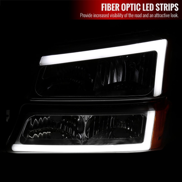 2002-2006 Chevrolet Avalanche/ 2003-2007 Silverado LED Bar Factory Style Headlights & Bumper Lights (Chrome Housing/Clear Lens)