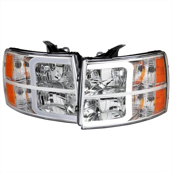 2007-2013 Chevrolet Silverado 1500/ 2007-2014 Silverado 2500HD 3500HD LED Bar Factory Style Headlights w/ Amber Reflector (Chrome Housing/Clear Lens)