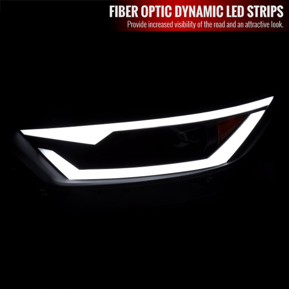 2015-2017 Ford Mustang / 2018-2020 Mustang Shelby LED Bar Xenon HID Projector Headlights (Matte Black Housing/Clear Lens)