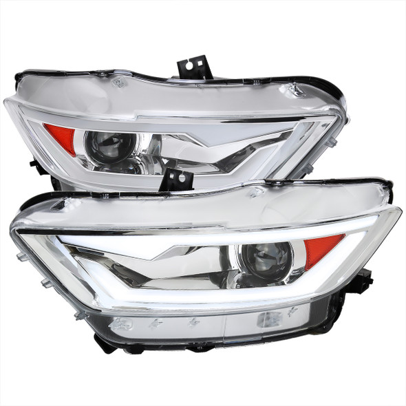 2015-2017 Ford Mustang / 2018-2020 Mustang Shelby LED Bar Xenon HID Projector Headlights (Chrome Housing/Clear Lens)
