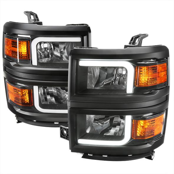 2014-2015 Chevrolet Silverado 1500 LED Bar Factory Style Headlights - Black (Matte Black Housing/Clear Lens)