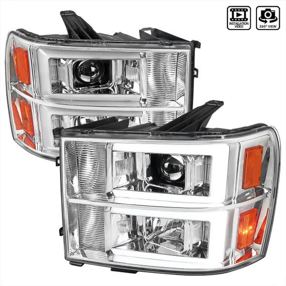 2007-2013 GMC Sierra / 2007-2014 Sierra 1500HD 2500HD 3500HD / 2009-2013 Sierra 1500 Hybrid Dual LED C-Bar Projector Headlights (Chrome Housing/Clear Lens)