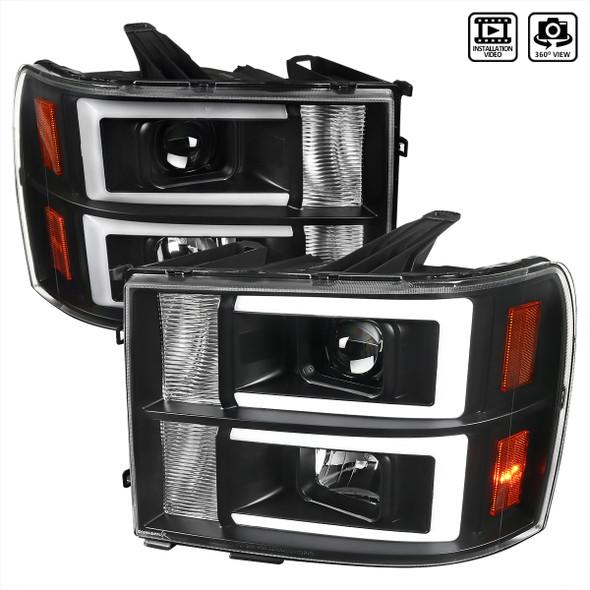 2007-2013 GMC Sierra / 2007-2014 Sierra 1500HD 2500HD 3500HD / 2009-2013 Sierra 1500 Hybrid Dual LED C-Bar Projector Headlights (Matte Black Housing/Clear Lens)