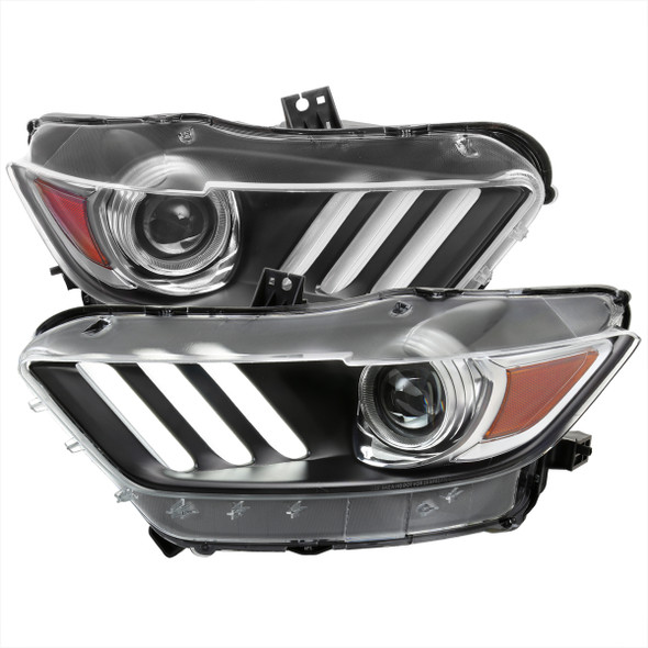 2015-2017 Ford Mustang / 2018-2020 Mustang Shelby LED Strip Xenon HID Projector Headlights (Matte Black Housing/Clear Lens)