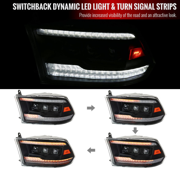 2009-2018 Dodge RAM 1500 / 2019-2021 RAM Classic / 2010-2018 RAM 2500 3500 Switchback Sequential Full LED Projector Headlights (Matte Black Housing/Clear Lens)