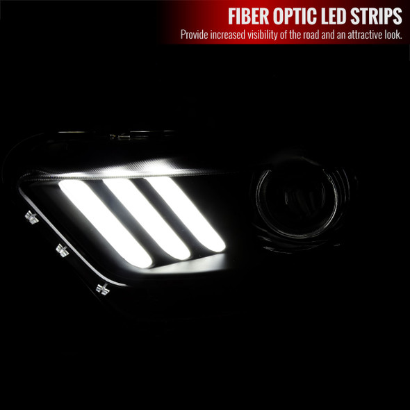 2015-2017 Ford Mustang / 2018-2020 Mustang Shelby LED Strip Xenon HID Projector Headlights (Black Housing/Smoke Lens)