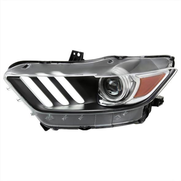 2015-2017 Ford Mustang / 2018-2020 Mustang Shelby LED Strip Xenon HID Projector Headlights - Driver Side Only (Matte Black Housing/Clear Lens)