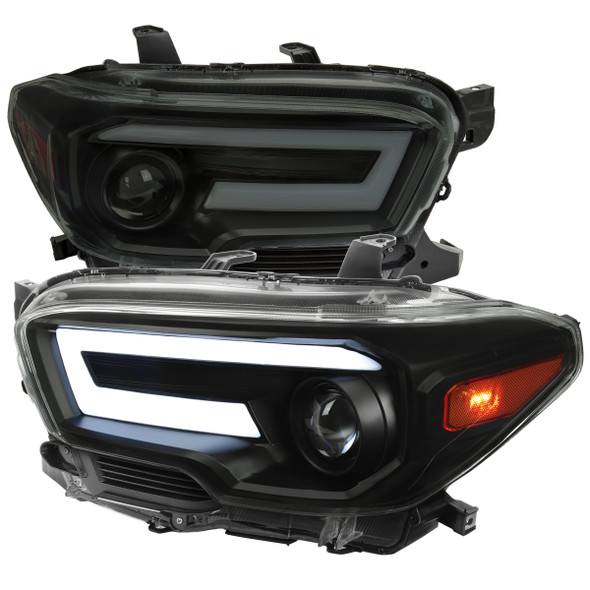 2016-2021 Toyota Tacoma Switchback Sequential LED DRL Bar Projector Headlights (Black Housing/Smoke Lens)