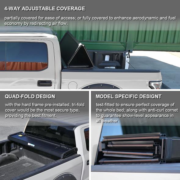 2002-2018 Dodge RAM 1500 2500 3500 / 2019-2021 RAM 1500 Classic 6.4' Bed Hard Quad-Fold Tonneau Cover
