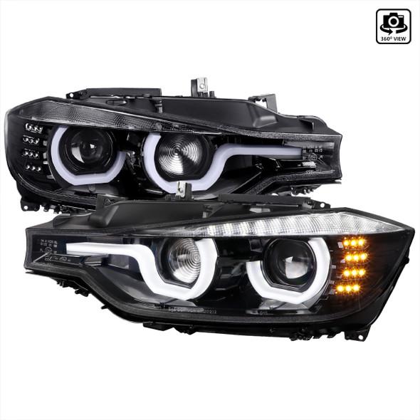 2012-2015 F30 3 Series Sedan Dual U-Bar Projector Headlights w/ LED Turn Signal Lights (Jet Black Housing/Clear Lens)