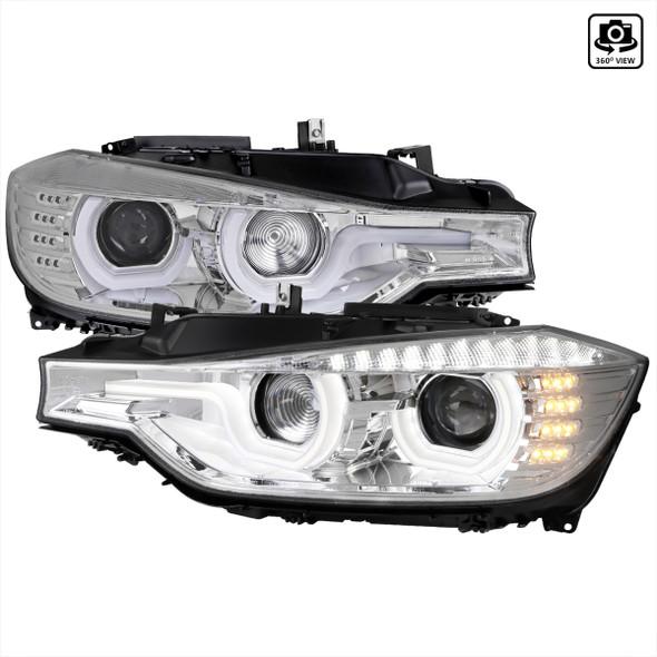 2012-2015 F30 3 Series Sedan Dual U-Bar Projector Headlights w/ LED Turn Signal Lights (Chrome Housing/Clear Lens)