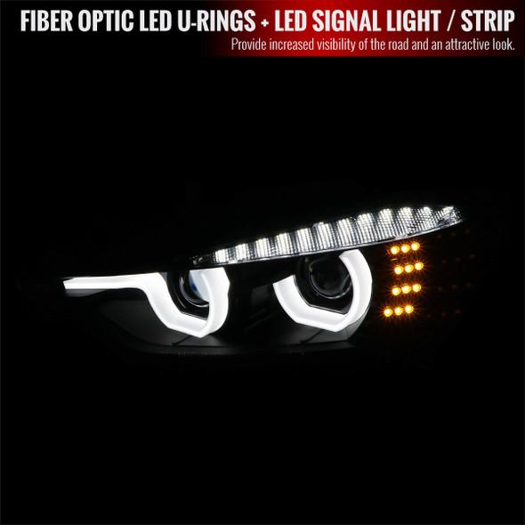 2012-2015 F30 3 Series Sedan Dual U-Bar Projector Headlights w/ LED Turn Signal Lights (Matte Black Housing/Clear Lens)