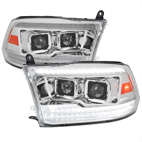 2009-2018 Dodge RAM 1500  / 2019-2021 RAM Classic / 2010-2018 RAM 2500 3500 Switchback Sequential Projector Headlights (Chrome Housing/Clear Lens)