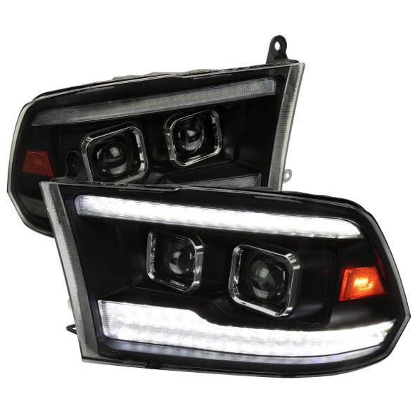2009-2018 Dodge RAM 1500  / 2019-2021 RAM Classic / 2010-2018 RAM 2500 3500 Switchback Sequential Projector Headlights (Matte Black Housing/Smoke Lens)