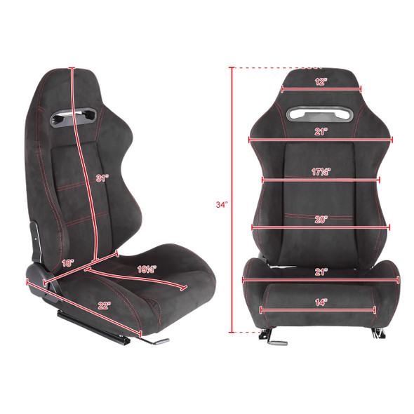 Fully Reclinable Black Suede Red Stitch Bucket Racing Seat w/ Sliders - Passenger Side Only