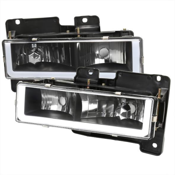 1988-1998 Chevrolet C/K C10/Tahoe/Suburban/Silverado GMC Sierra/Yukon/Suburban LED Bar Crystal Headlights (Matte Black Housing/Clear Lens)