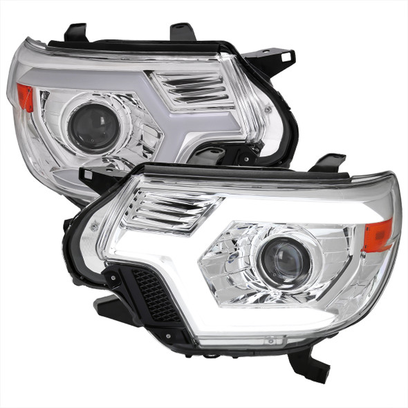 2012-2015 Toyota Tacoma Switchback Sequential LED Bar Projector Headlights (Chrome Housing/Clear Lens)