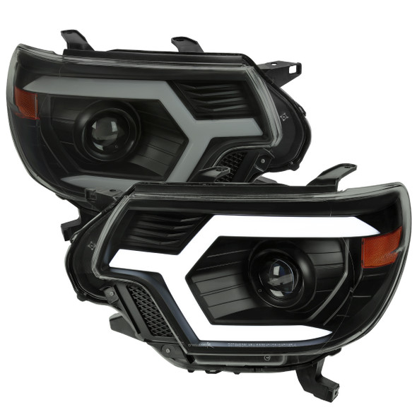 2012-2015 Toyota Tacoma Switchback Sequential LED Bar Projector Headlights (Matte Black Housing/Smoke Lens)
