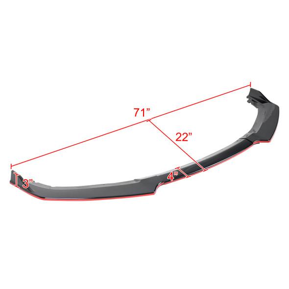 2016-2018 Honda Civic Sedan Glossy Black/Red Trim 3PC Front Bumper Lip Splitter Kit