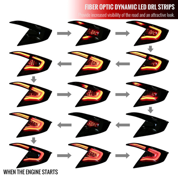 2016-2020 Honda Civic Sedan LED Tail Lights w/ Sequential Signal Lamps (Matte Black Housing/Clear Lens)