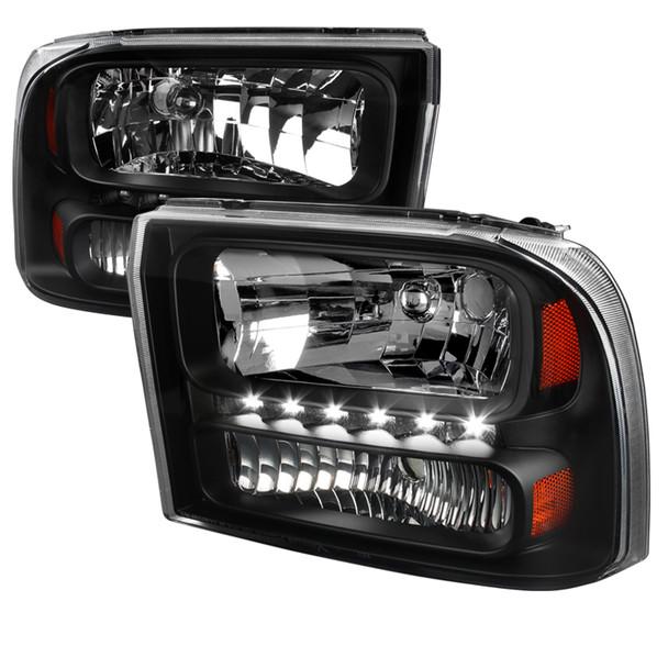 1999-2004 Ford F-250/F-350/F-450/F-550/Excursion Crystal Headlights w/ SMD LED Light Strip (Matte Black Housing/Clear Lens)