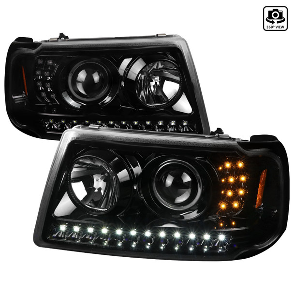 2001 2011 ford ranger led halo projector headlights jet black housing clear lens spec d tuning 2001 2011 ford ranger led halo