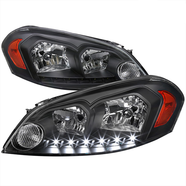 2006-2015 Chevrolet Impala/Monte Carlo Factory Style Crystal Headlights w/ SMD LED Light Strip (Matte Black Housing/Clear Lens)