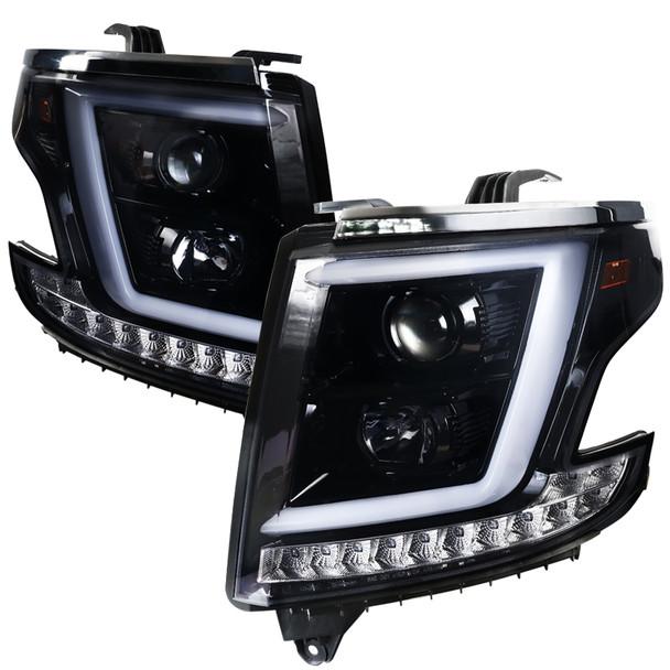 2015-2020 Chevrolet Tahoe Suburban/ 2016-2019 Suburban 3500HD LED C-Bar Projector Headlights w/ LED Turn Signal Lights (Glossy Black Housing/Smoke Lens)