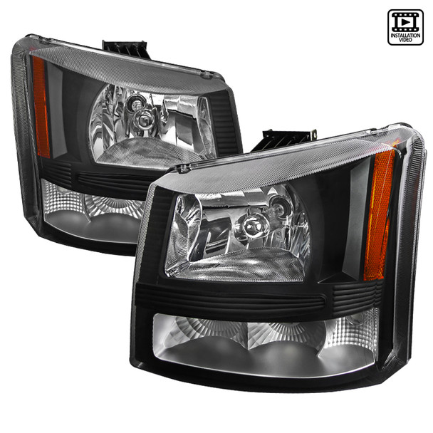2002-2006 Chevrolet Avalanche/ 2003-2007 Silverado 1PC Factory Style Headlights w/ Bumper Lights (Matte Black Housing/Clear Lens)