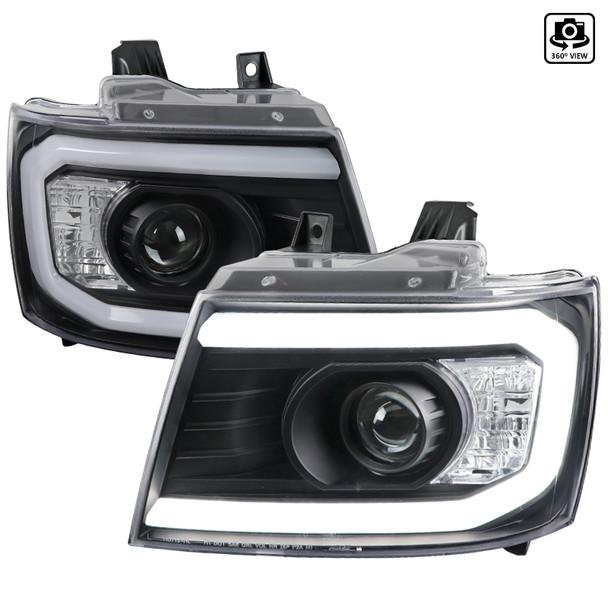 2007-2013 Chevrolet Avalanche/ 2007-2014 Tahoe Suburban LED C-Bar Projector Headlights (Black Housing/Clear Lens)