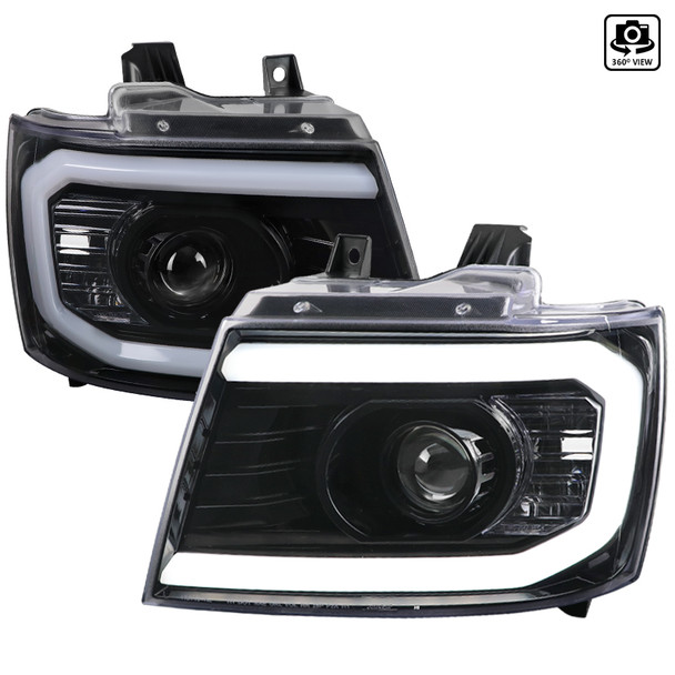 2007-2013 Chevrolet Avalanche/ 2007-2014 Tahoe Suburban LED C-Bar Projector Headlights (Jet Black Housing/Clear Lens)