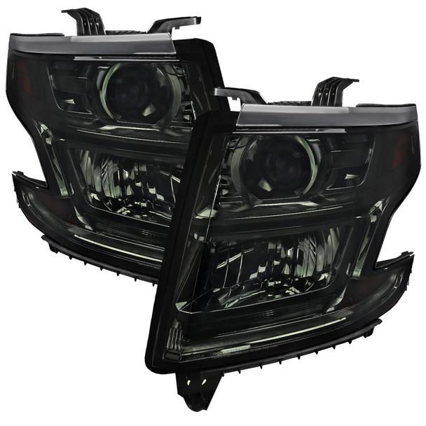 2015-2020 Chevrolet Tahoe Suburban/ 2016-2019 Suburban 3500HD Projector Headlights w/ LED Light Strip (Chrome Housing/Smoke Lens)