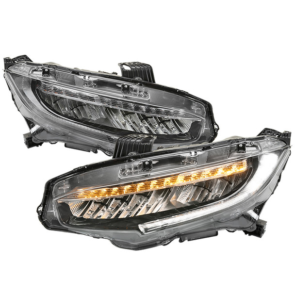 2016-2020 Honda Civic Full LED Headlights w/ LED Strip & Sequential LED Turn Signal Lights (Black Housing/Clear Lens)