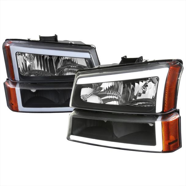 2002-2006 Chevrolet Avalanche/ 2003-2007 Silverado LED Bar Factory Style Headlights & Bumper Lights (Matte Black Housing/Clear Lens)