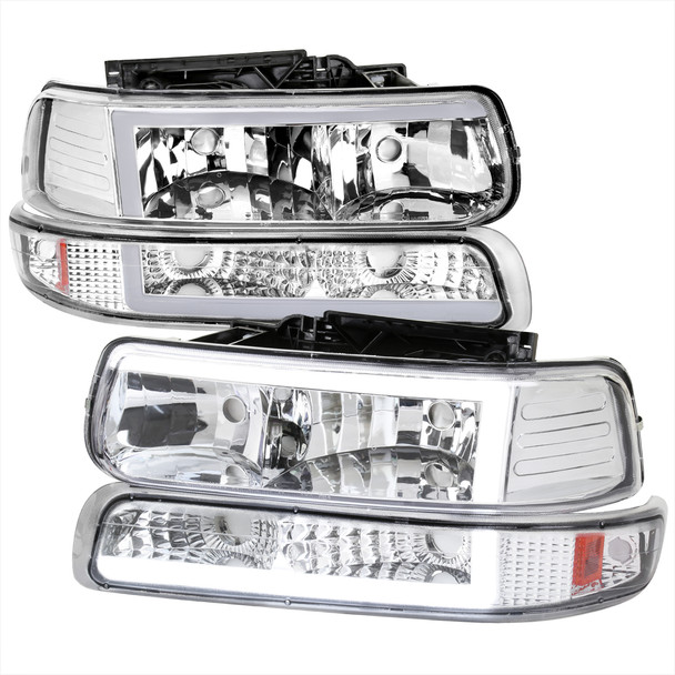 1999-2002 Chevrolet Silverado 1500 2500 / 2000-2006 Tahoe Suburban LED Bar Factory Style Headlights & Bumper Lights w/ Amber Reflector (Chrome Housing/Clear Lens)