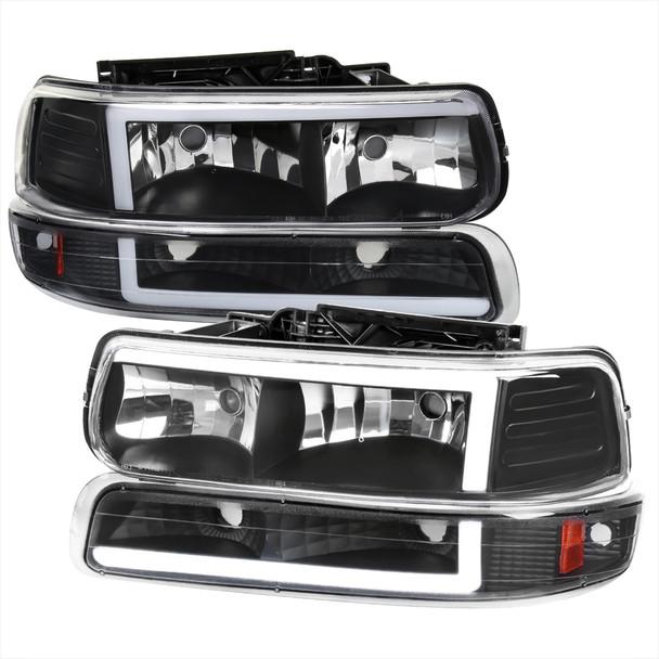 1999-2002 Chevrolet Silverado 1500 2500 / 2000-2006 Tahoe Suburban LED Bar Factory Style Headlights & Bumper Lights w/ Amber Reflector (Matte Black Housing/Clear Lens)