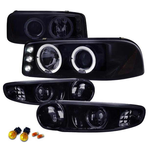 2001-2006 GMC Yukon + XL Denali/ 2002-2006 GMC Sierra Denali Dual Halo Projector Headlights w/ Bumper Lights (Glossy Black Housing/Smoke Lens)