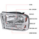 1999-2004 Ford F-250/F-350/F-450/F-550/Excursion Crystal Headlights w/ SMD LED Light Strip (Chrome Housing/Clear Lens)