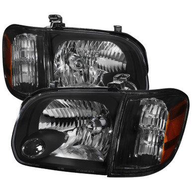 2005-2007 Sequoia Pickup Headlamp Replacement Pair,Black Housing Amber Reflector DWVO Headlight Assembly Compatible with 2005-2006 Toyota Tundra Double//Crew Cab