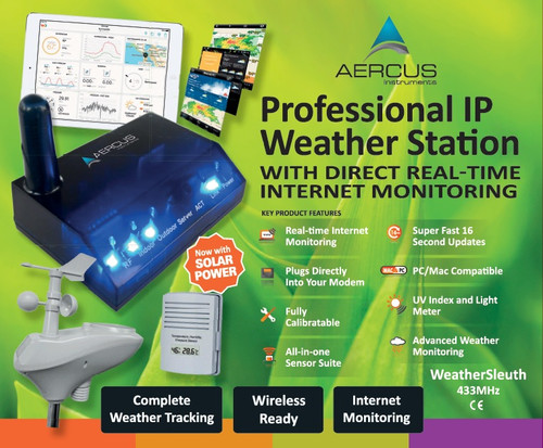 Aercus Instruments WeatherSleuth - Professional IP Weather Station with Direct Real-time Internet Monitoring