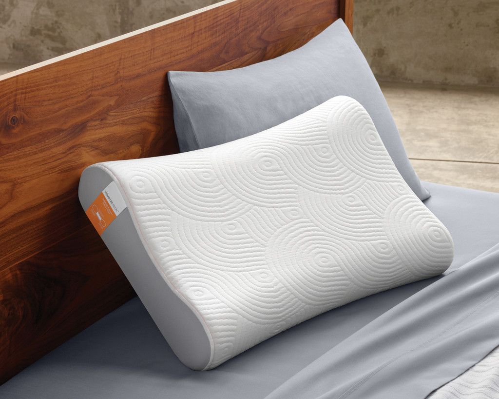 Tempur-Contour Side-To-Side Pillow on a platform bed