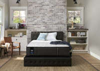Sealy Posturepedic Premium Exuberant Cushion Firm Room shot platform bed