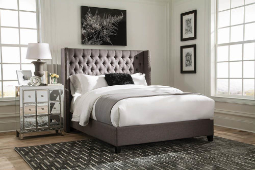 Bancroft Upholstered Bed - Grey - Bancroft Demi-wing Upholstered California King Bed Grey