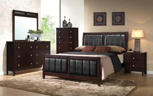 Carlton Collection - Black - Carlton California King Upholstered Bed Cappuccino And Black