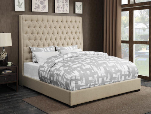 Camille Upholstered Bed - Cream - Camille California King Button Tufted Bed Cream