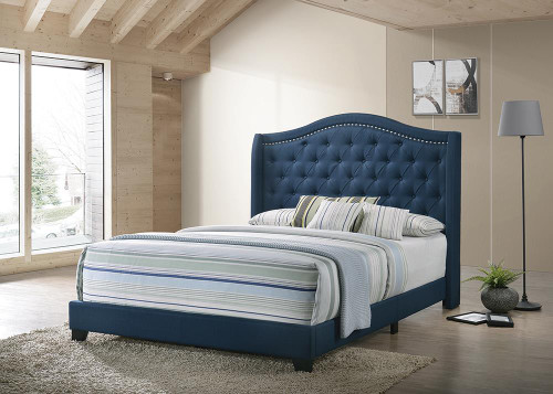 Sonoma Upholstered Bed - Blue - Sonoma Full Camel Headboard Bed With Nailhead Trim Blue