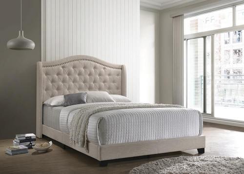 Sonoma Upholstered Bed - Beige - Sonoma Camel Back Full Bed Beige