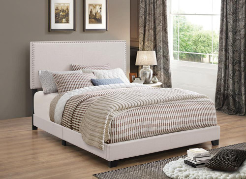 Boyd Upholstered Bed - Ivory - Boyd Eastern King Upholstered Bed With Nailhead Trim Ivory