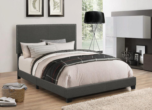 Boyd Upholstered Bed - Charcoal - Boyd Eastern King Upholstered Bed With Nailhead Trim Charcoal
